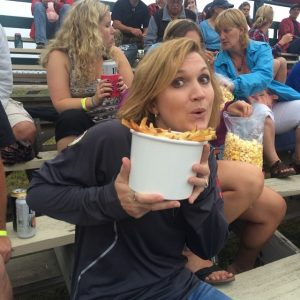 laura with a huge bucket of fries