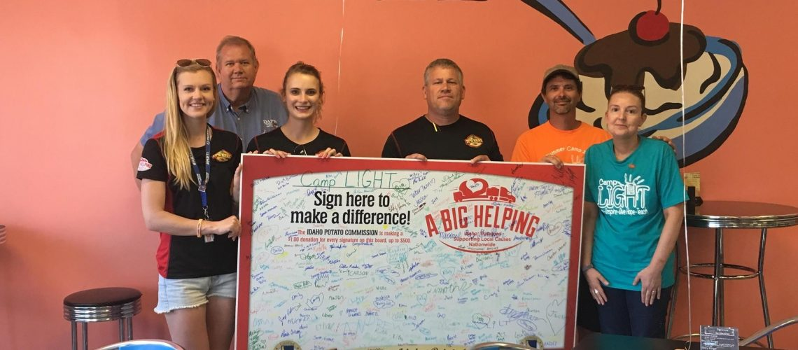 The Signature Board for Camp LIGHT! Left to Right: Kaylee, Phil from DAP's, Jessica, Larry, and Scott & Cathy from Camp LIGHT.